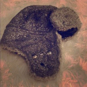 Dark grey and silver winter hat